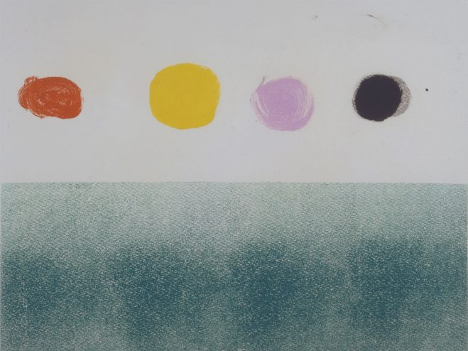 "Text: #7314.1: Adolph Gottlieb, Untitled, 1973, monotype in ink on paper, plate size:18 x 24"" ©️Adolph and Esther Gottlieb Foundation/ Licensed by VAGA, New York, NY"