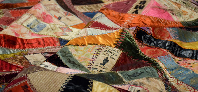 Text: detail of Commemorative Ribbon Memory Quilt, 1897, Gift from the Mobile Historic Preservation Society